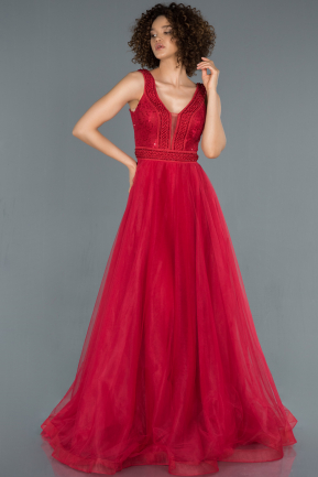 Red Long Engagement Dress ABU1370