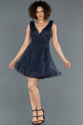 Short Navy Blue Prom Gown ABK819