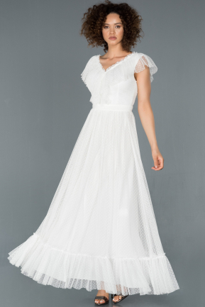 Long White Prom Gown ABU1288
