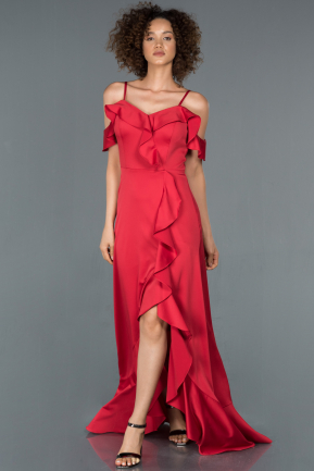 Front Short Back Long Red Prom Gown ABO051