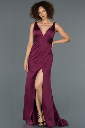 Long Plum Satin Mermaid Evening Dress ABU1255