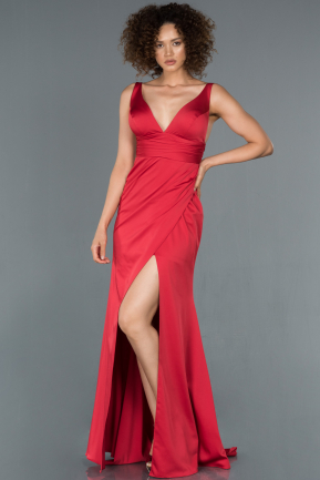 Long Red Satin Mermaid Evening Dress ABU1255