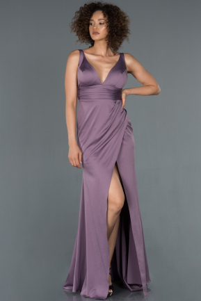 Long Lavender Satin Mermaid Evening Dress ABU1255