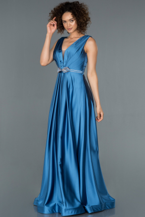 Long Indigo Satin Evening Dress ABU1425