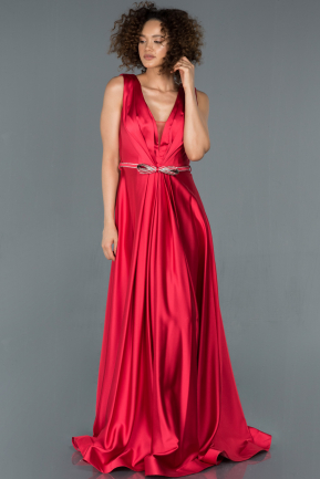 Long Red Satin Evening Dress ABU1425