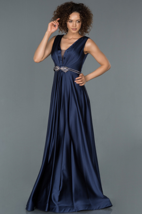 Long Navy Blue Satin Evening Dress ABU1425