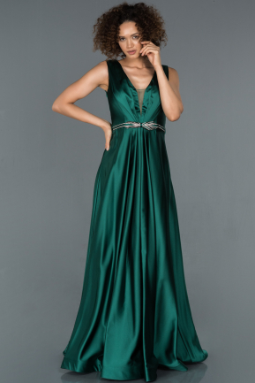 Long Emerald Green Satin Evening Dress ABU1425