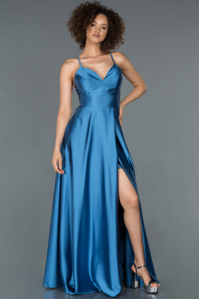 Indigo Long Satin Prom Gown ABU1182