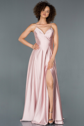Powder Color Long Satin Prom Gown ABU1182