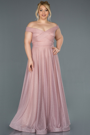 Powder Color Long Plus Size Evening Dress ABU1365