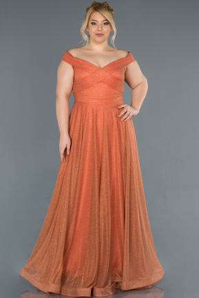 Light Brown Long Plus Size Evening Dress ABU1365