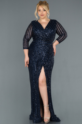 Navy Blue Long Oversized Mermaid Evening Dress ABU1043