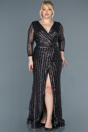 Anthracite Long Oversized Mermaid Evening Dress ABU1043