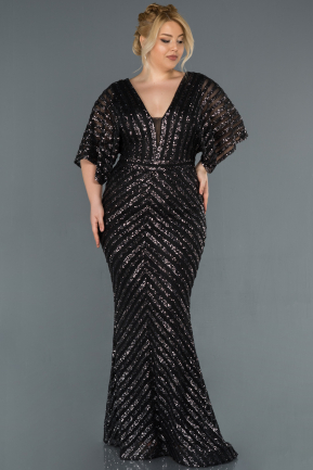 Long Anthracite Plus Size Evening Dress ABU900