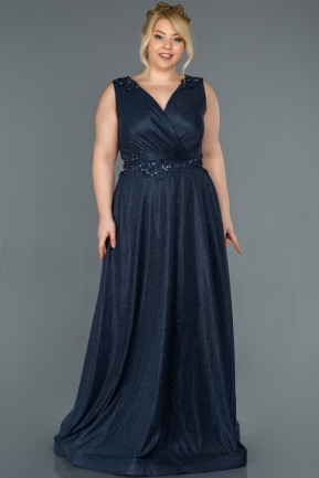 Navy Blue Long Plus Size Evening Dress ABU1317