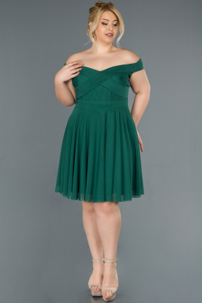 Short Emerald Green Plus Size Evening Dress ABK008