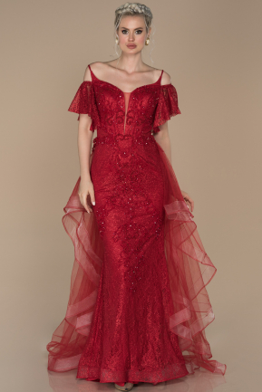 Long Red Laced Engagement Dress ABU1394