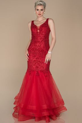 Long Red Engagement Dress ABU1383