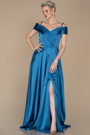 Long Indigo Satin Prom Gown ABU1259