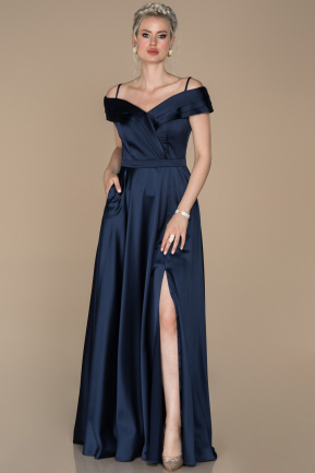 Long Navy Blue Satin Prom Gown ABU1259