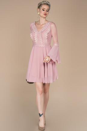 Powder Color Short Invitation Dress ABK643