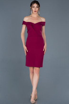 Short Plum Prom Gown ABK501