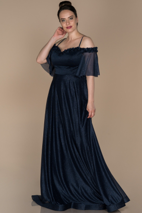 Long Navy Blue Plus Size Evening Dress ABU1405