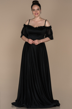 Long Black Plus Size Evening Dress ABU1405