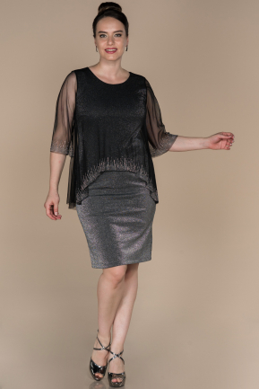 Short Black Plus Size Evening Dress ABK843