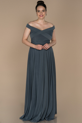 Long Anthracite Oversized Evening Dress ABU1364