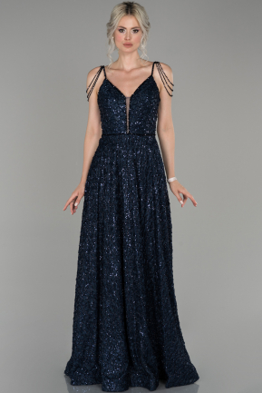 Navy Blue Long Laced Engagement Dress ABU1430