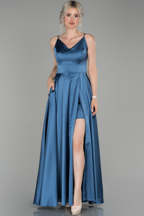 Indigo Long Satin Prom Gown ABU1439