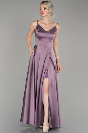 Lavender Long Satin Prom Gown ABU1439
