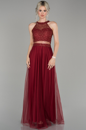 Burgundy Long Engagement Dress ABU766
