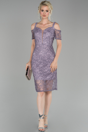 Lavender Short Laced Night Dress ABK864