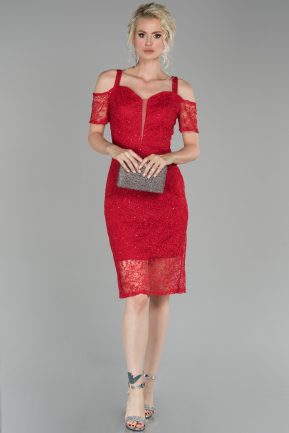 Red Short Laced Night Dress ABK864