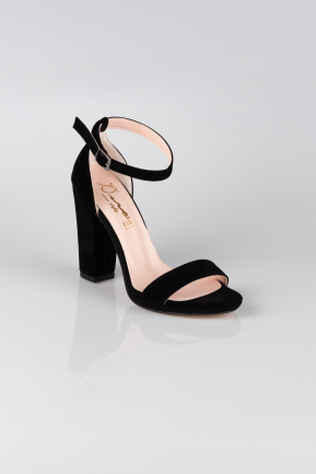 Black Suede Evening Shoes AB1016