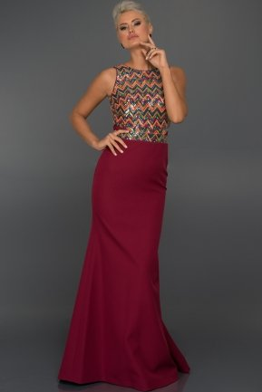 Long Plum-Orange Evening Dress C7197