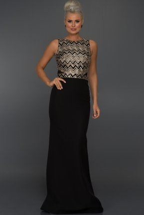 Long Black-Mink Evening Dress C7197