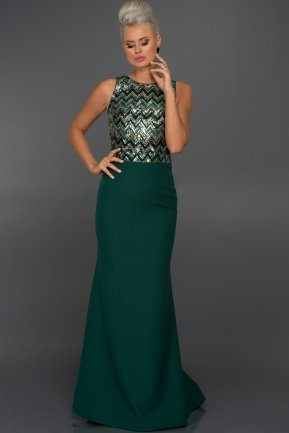Long Emerald Green Evening Dress C7197