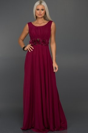 Long Plum Evening Dress C7216