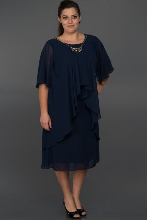 Short Navy Blue Oversized Evening Dress C9028