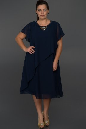 Short Navy Blue Oversized Evening Dress C9030