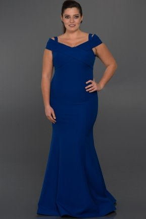 Long Sax Blue Oversized Evening Dress C9500