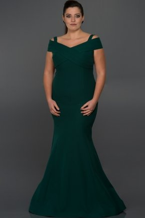 Long Emerald Green Oversized Evening Dress C9500