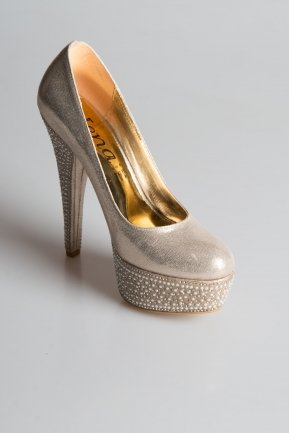 Gold Plastering Fabric Evening Shoes MJ4378