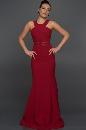 Long Burgundy Evening Dress W6004