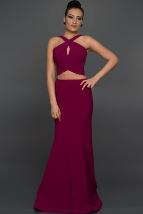 Long Plum Evening Dress W6005