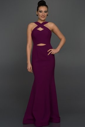 Long Purple Evening Dress W6007