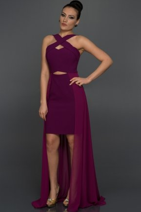 Long Purple Evening Dress W6008